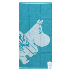 Moomin Bath Towel Moomintroll and Present Turquoise 70 x 140 cm Finlayson