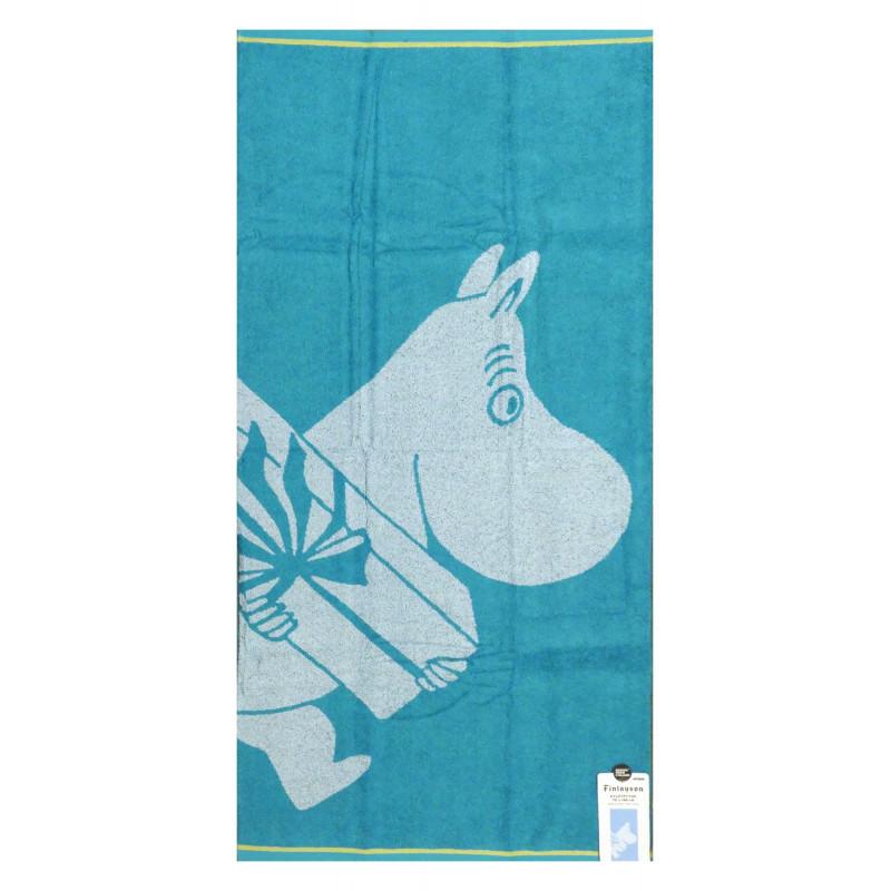 Moomin Bath Towel Moomintroll and Present Turquoise 70 x 140 cm Finlayson