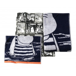 Moomin Terry Towels and Tote Bag Set Moominpappa Blue 30 x 50 / 70 x 140 cm