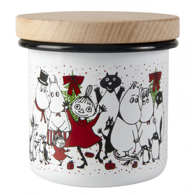 Moomin Enamel Storage Jar With Wooden Lid Winter Magic 8 cm