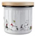 Moomin Enamel Storage Jar With Wooden Lid Winter Trip 12 cm