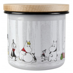 Moomin Enamel Storage Jar With Wooden Lid Winter Trip 12 cm
