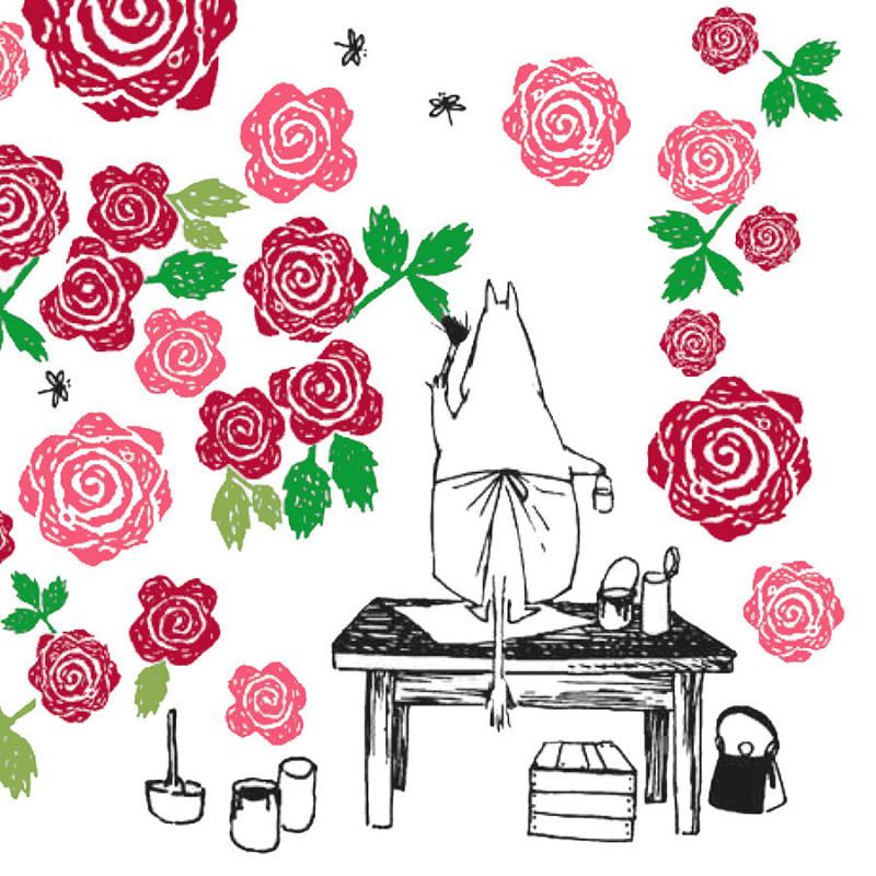 Moomin Napkins Moominmamma Roses 33 cm Suomenkerta