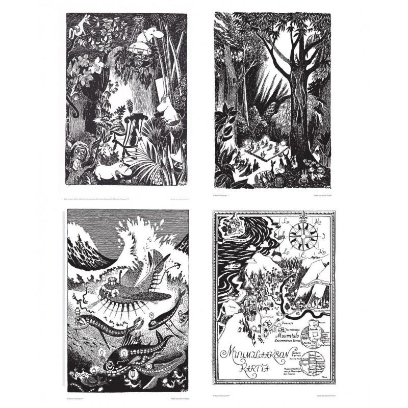 Moomin Set of 4 Posters 24 x 30 cm Black and White Putinki