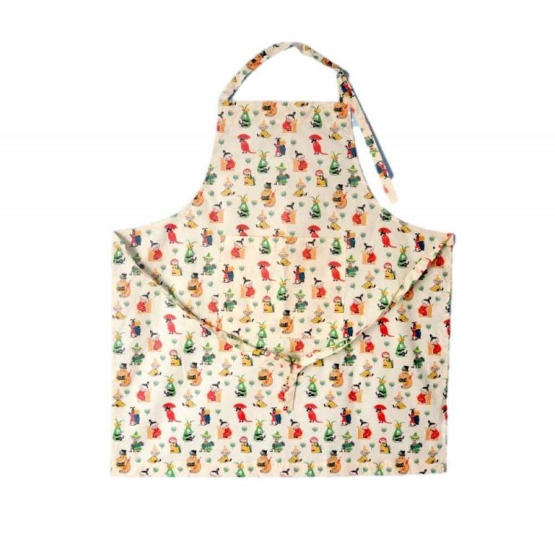 Moomin Full Size Apron Waxed Fabric 50's Pattern