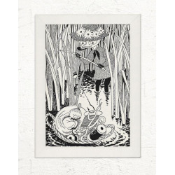 Moomin Poster Snufkin and Little My Napping 50 x 70 cm Putinki