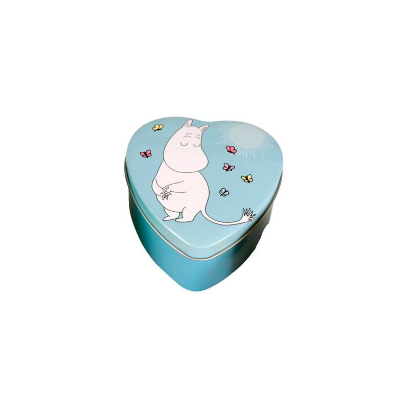 Moomin Heart Tin Box Blue Troll