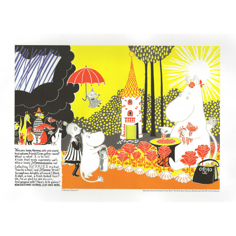 Moomin Poster A3 Sunshine Collecting Berries 30 x 42 cm Optodesign