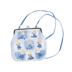 Moomin Purse with Shoulder Strap Little My Patches Blue