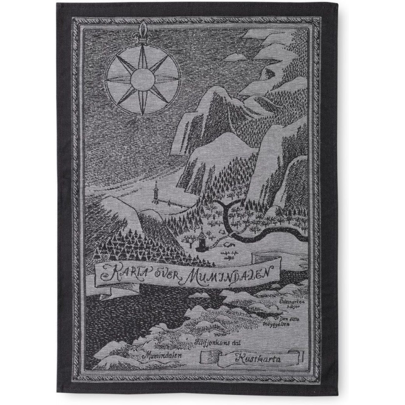 Moomin Kitchen Tea Towel Moominvalley Map Black and White 50 x 70 cm