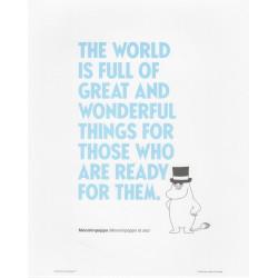 Moomin Poster Blue Text Moominpappa 24 x 30 cm Putinki