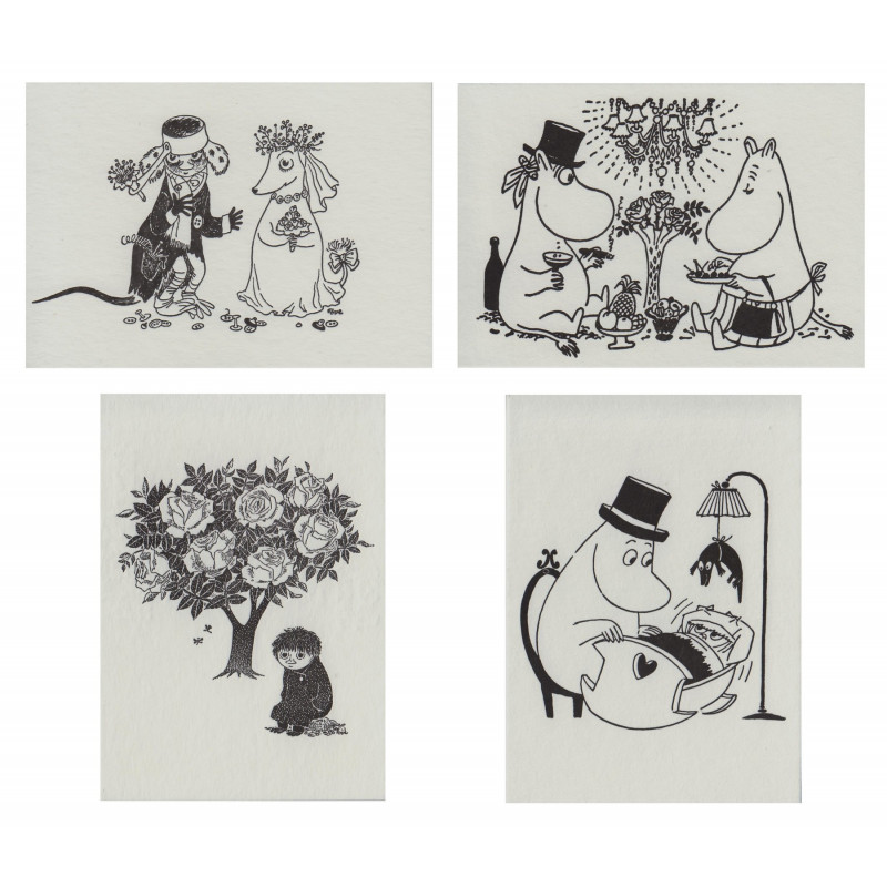 Moomin Letterpressed Postcard Set 09 4 pcs Putinki