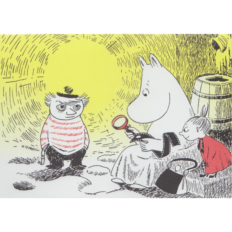 Moomin Greeting Card with Envelope Magnifying Glass Putinki