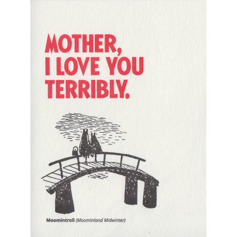 Moomin Greeting Card Letterpressed Mamma and Moomintroll Putinki