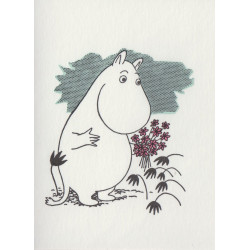 Moomin Greeting Card Letterpressed Moomintroll and Flowers Putinki