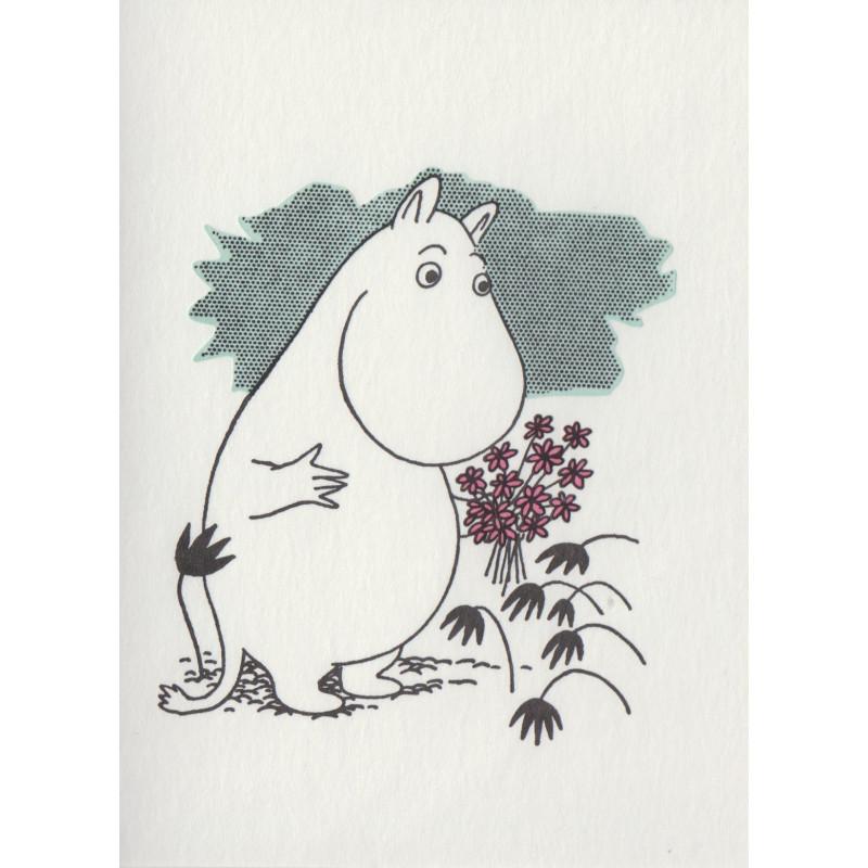 Moomin Greeting Card Letterpressed Moomintroll and Flowers Putinki