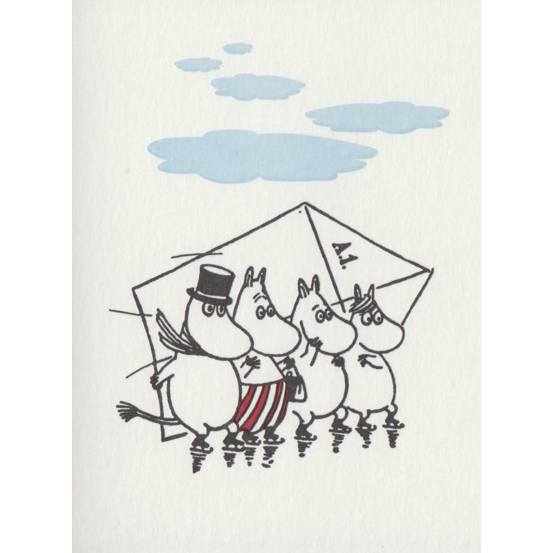Moomin Greeting Card Letterpressed Skating Putinki