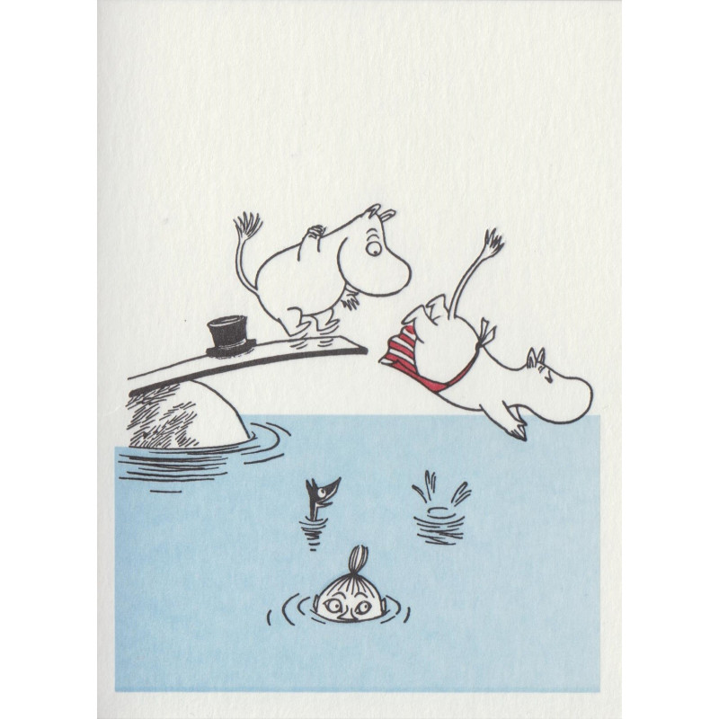 Moomin Greeting Card Letterpressed Swimming Putinki