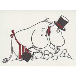 Moomin Greeting Card Letterpressed Pappa and Mamma Snow Ball Putinki