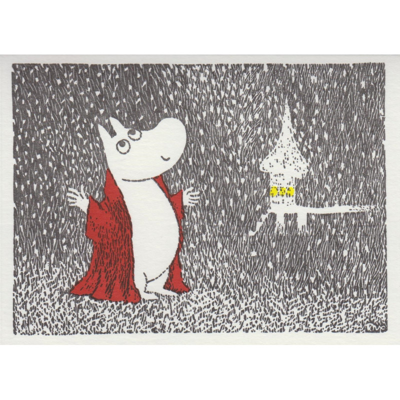 Moomin Greeting Card Letterpressed Illuminated Swimming House Putinki