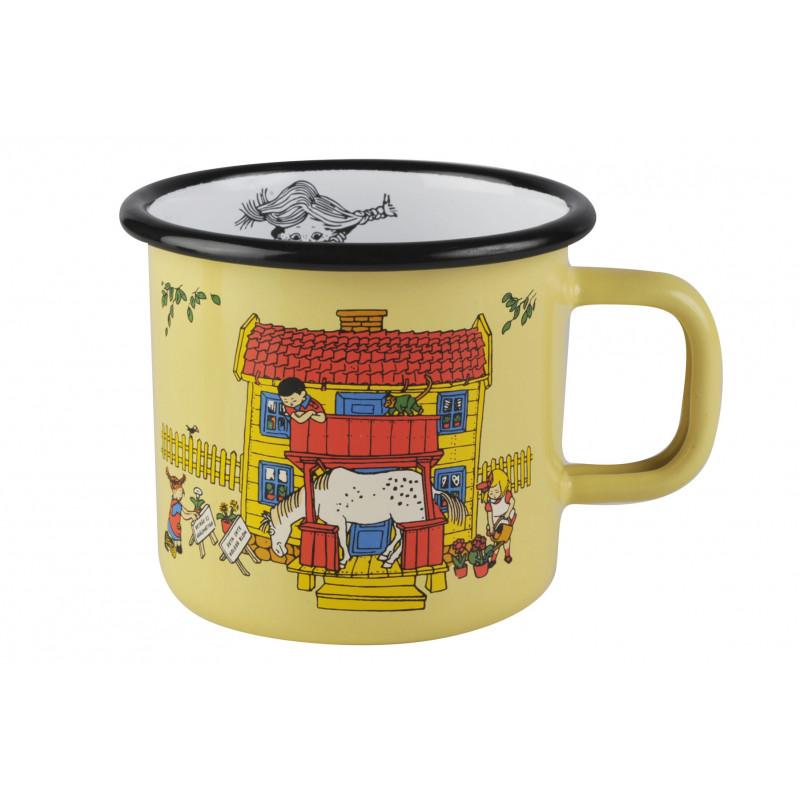 Pippi Enamel Mug 0.37 L Yellow Villa Villekulla