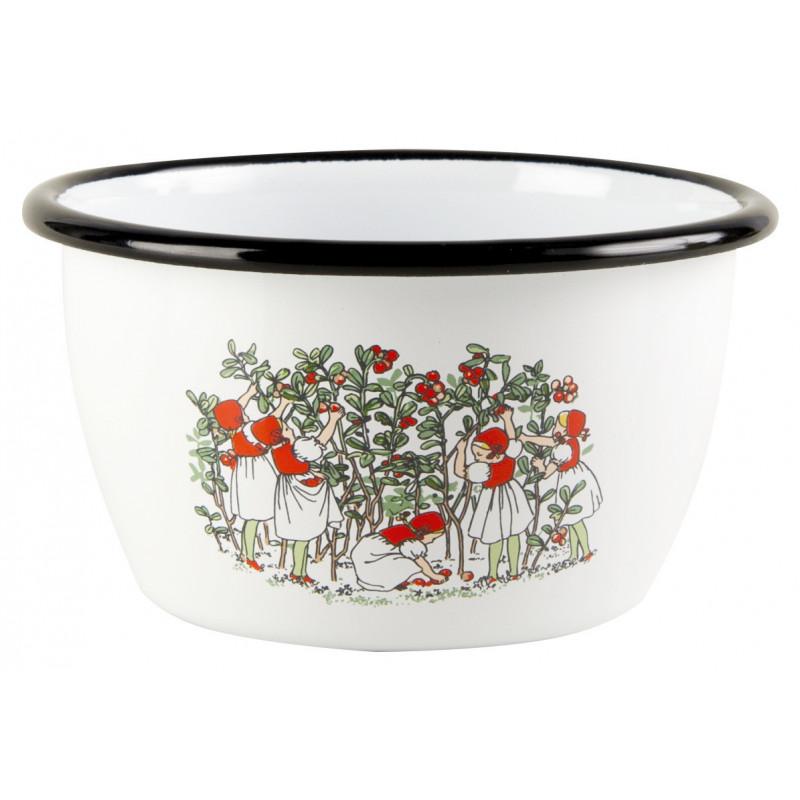 Elsa Beskow Enamel Bowl 0.3 L Lingonberries