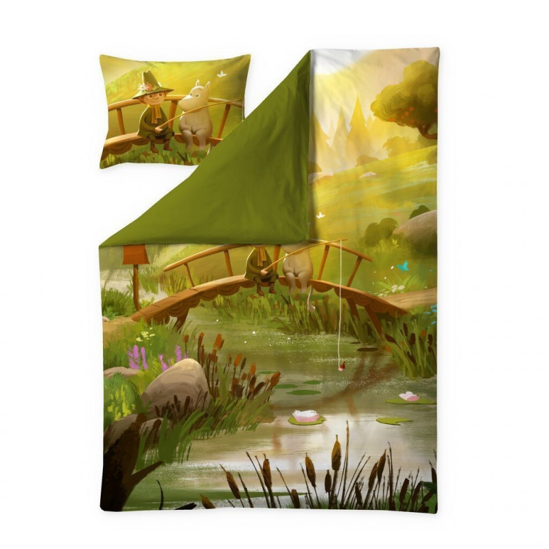 Moomin Animation Spring in Moominvalley Sateen Duvet Cover Pillowcase 150 x 210 cm 50 x 60 cm