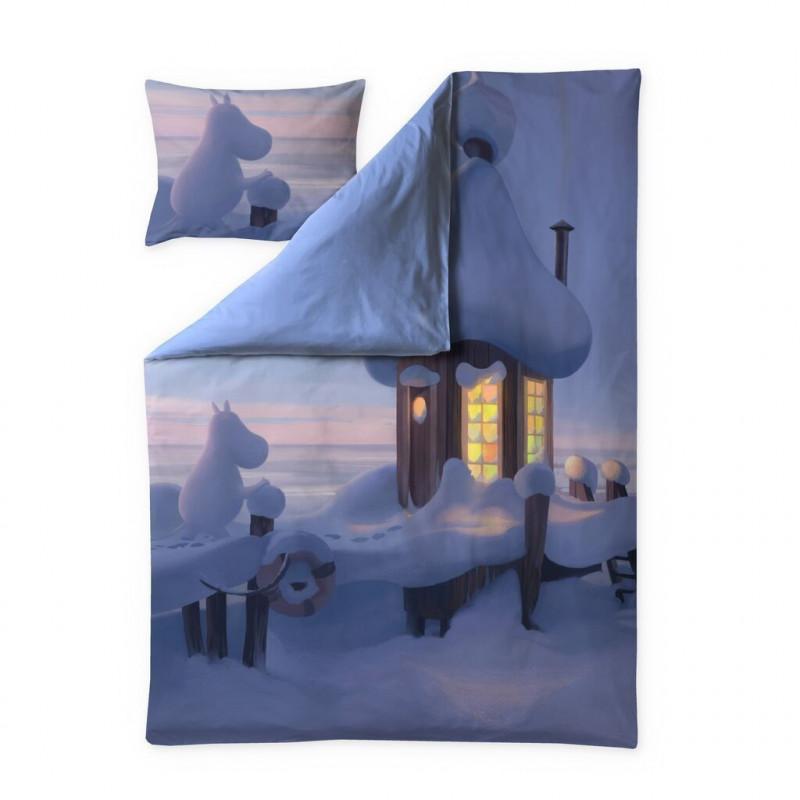 Moomin Animation Winter in Moominvalley Sateen Duvet Cover Pillowcase 150 x 210 cm 50 x 60 cm