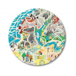 Moomin Cutting Board Japan Map Playground 21 cm