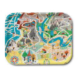 Moomin Birch Tray Japan Map Playground 27 x 20 cm