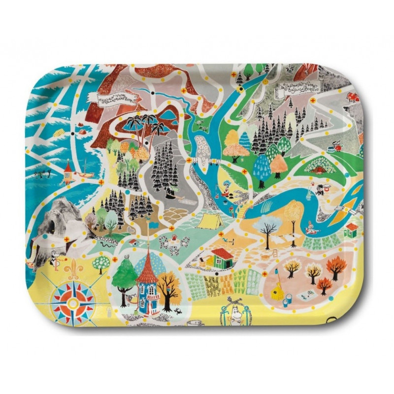 Moomin Birch Tray Japan Map Playground 27 x 20 cm