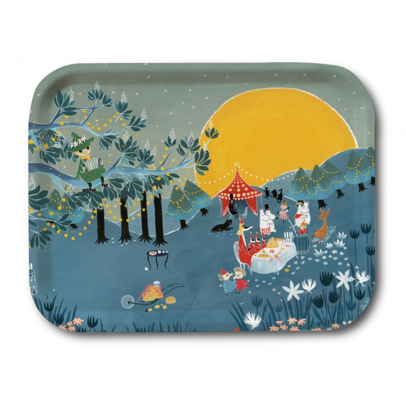 Moomin Birch Tray Sunset Party Bonnier 27 x 20 cm