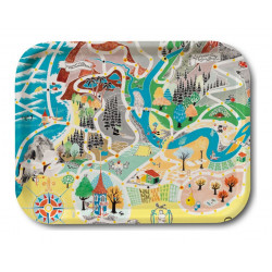 Moomin Birch Tray Japan Map Playground 36 x 28 cm