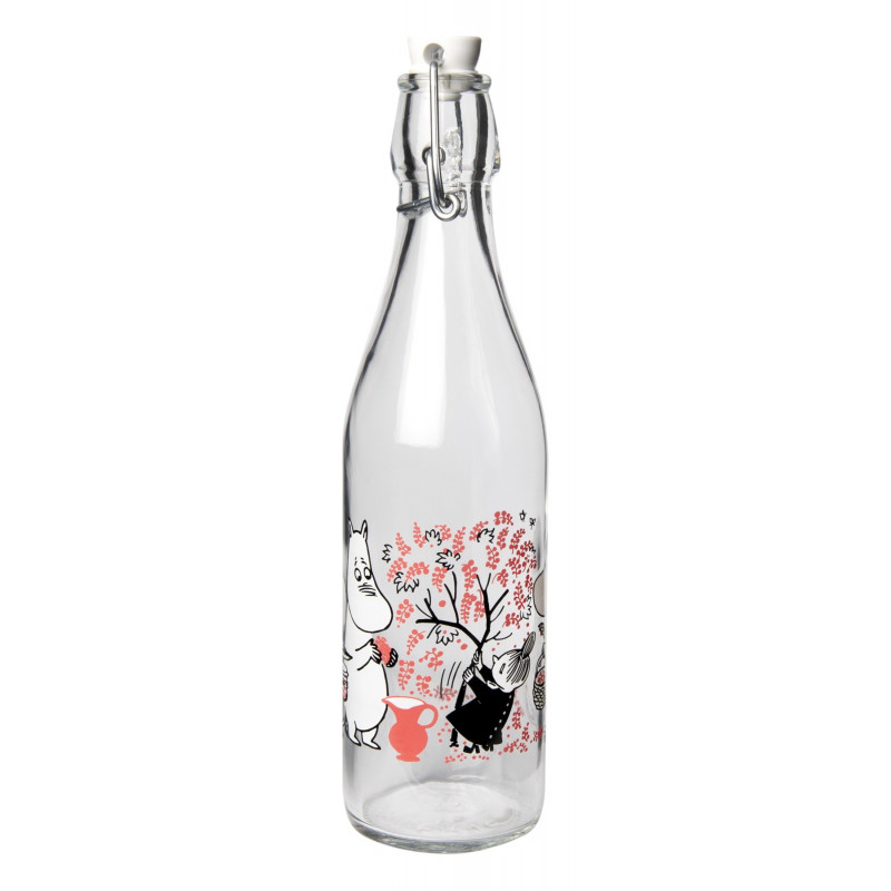 Moomin Glass Bottle with Lid Berries 0.5 L Muurla