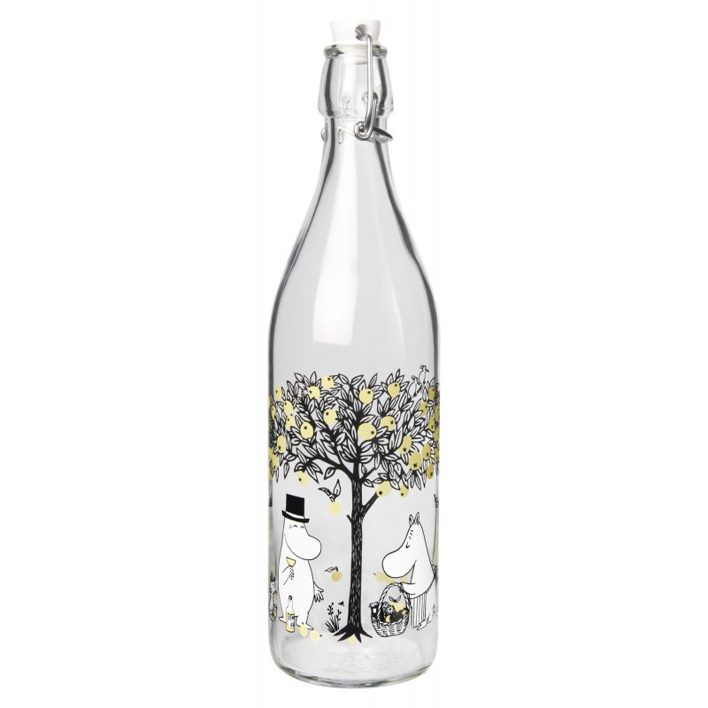 Moomin Glass Bottle with Lid Apples 1.0 L Muurla
