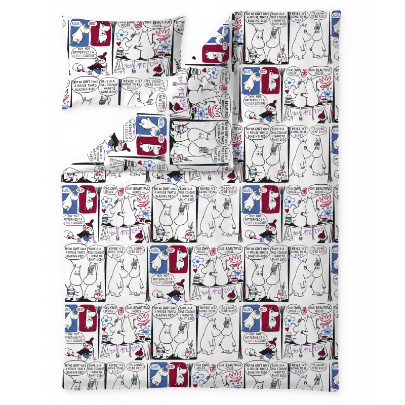 Moomin Duvet Cover Pillowcase Set Paint 150 x 210 cm