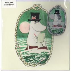 Moomin Greeting Card Moominpappa with Aluminium Magnet