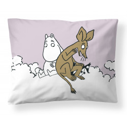 Moomin Pillowcase Pink Moomintroll and Sniff Clouds 50 x 60 cm Finlayson