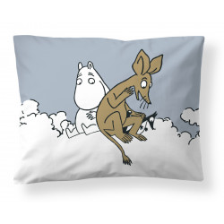 Moomin Pillowcase Light Blue Moomintroll and Sniff Clouds 50 x 60 cm Finlayson