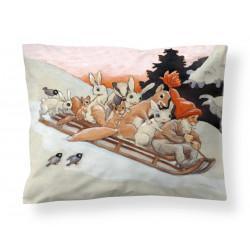 Finlayson Satin Pillowcase Organic Cotton Forest Creatures Rudolf Koivu 50 x 60 cm