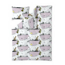 Moomin Duvet Cover Pillowcase Clouds Pink 150 x 210 cm 50 x 60 cm Finlayson