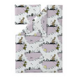 Moomin Duvet Cover Pillowcase Clouds Pink 120 x 160 cm 40 x 60 cm Finlayson