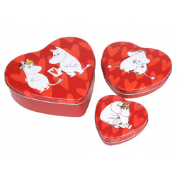 Moomin Valentine Heart Tin Cans Red Set of 3 Martinex