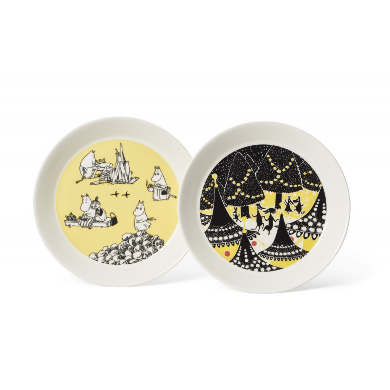 Moomin Collectors Plate 19 cm 2-pack Yellow and Hurray