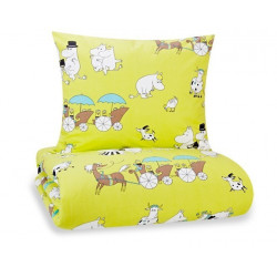 Moomin Duvet Cover Pillow Case 150x210/55x65cm Forget-me-not Turquoise/Pistachio Finlayson
