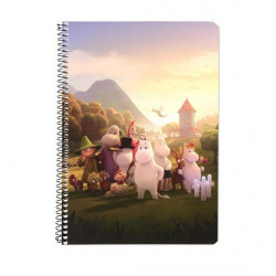 Moomin Spiral Notebook Moomin Valley Family A5 80 Squared Pages 7x7 mm
