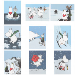 Moomin Set of Nine Winter Postcards with Glitter Putinki