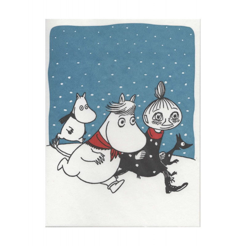 Moomin Greeting Card Letterpressed Christmas Galloping