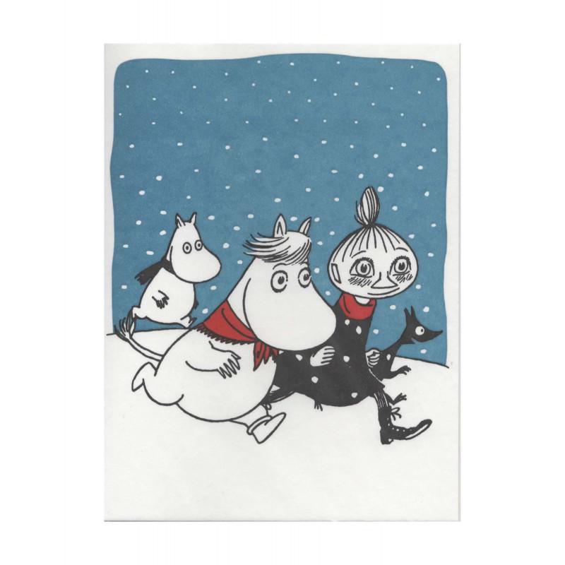 Moomin Greeting Card Letterpressed Christmas Galloping