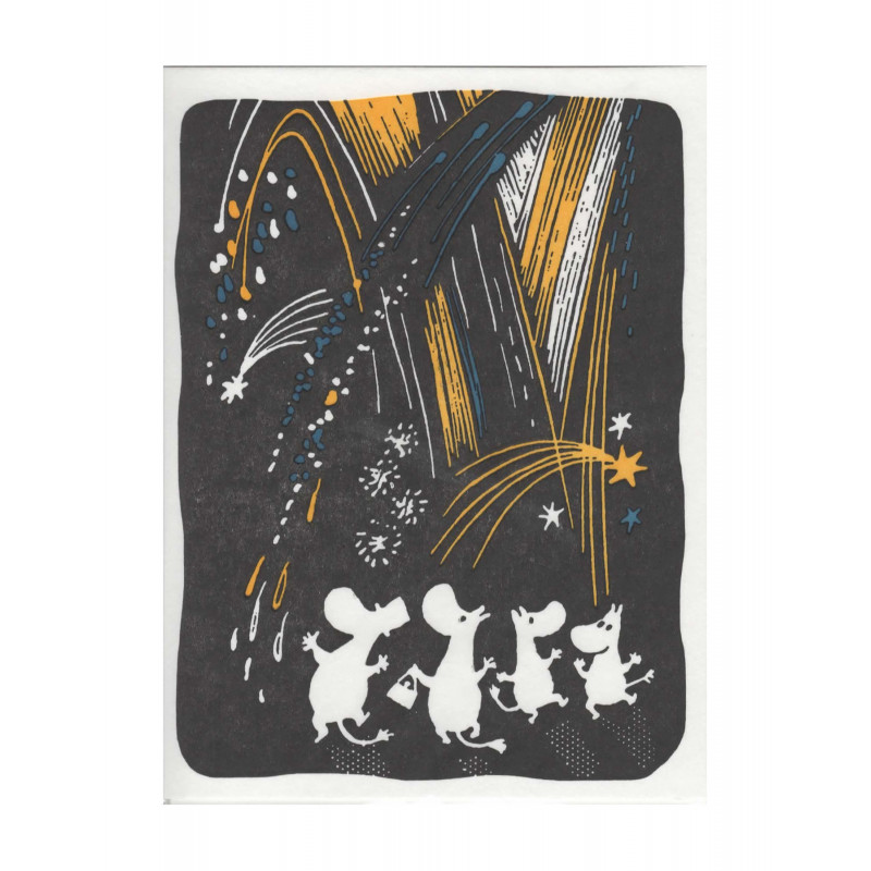 Moomin Greeting Card Letterpressed Christmas Fireworks